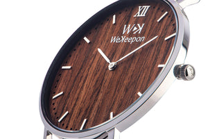 Calypso -WeKeepon -Orologio Legno- Cinturino Pelle - Vera  Pelle-Grey - Calypso-Grey Leather-Genuine Leather-Wood Watch