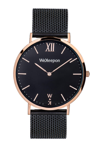 Black Rose-WeKeepon-Orologio in Acciaio-Cinturino in Acciaio-Quadrante Oro-Steel Watch-Stainless Steel