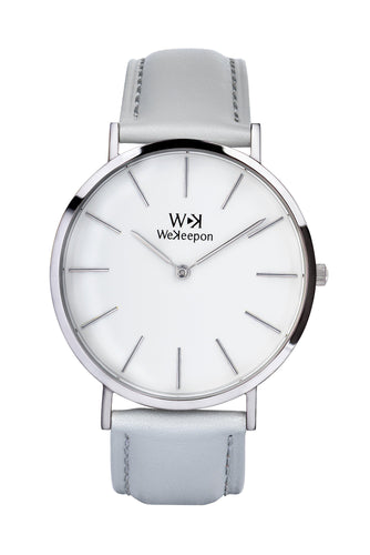 WeKeepon -Orologio Acciaio- Cinturino Pelle - Vera  Pelle-Grey-Iceberg-Grey Leather-Fashion-Stainless Steel Case-Iceberg
