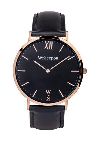 WeKeepon -Orologio Acciaio- Cinturino Pelle - Vera Pelle- Quadrante Nero-Oro-Nord Africa - North Africa-Black Leather-Gold Stainless Steel