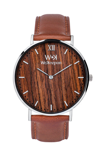 WeKeepon -Orologio Legno- Cinturino Pelle - Vera Pelle Marrone-Coffe Cream-Brown Leather