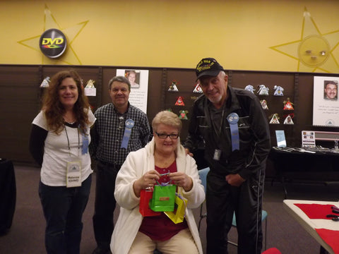 Shopper Denise Tyrrell meets artisans, who crafted her holiday gifts: Rebecca Iovino, Bob Mayer & Walt Nolting