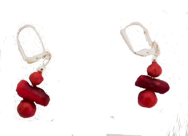 Bamboo Coral Earrings - Sterling Silver