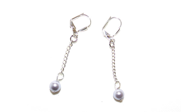 Silver Pearl Drop Earrings - Sterling Silver