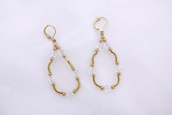 Crystal Hoops Earrings - Sterling Silver