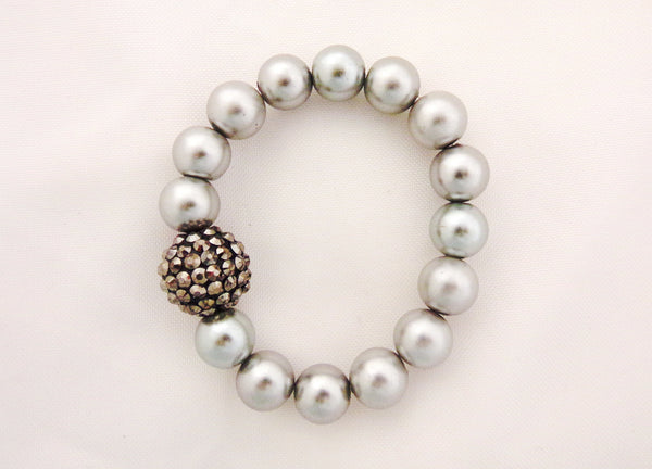 Platinum Pearls and Crystals Bracelet