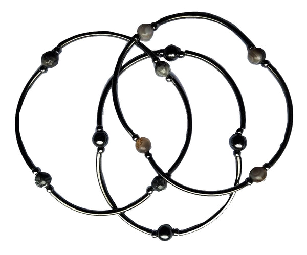 Shades of Gray Combo Skinny Bracelet Set