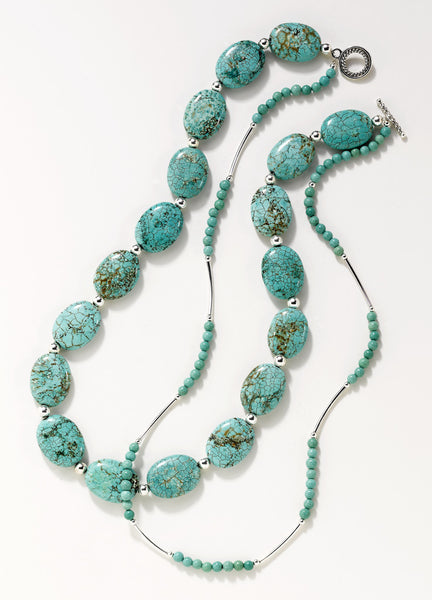 Blue Magnesite Double Strand Necklace