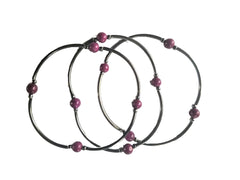 Purple Agate Skinny Bracelet Set