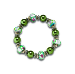 Green-Rose Stretch Bracelet