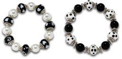 Black & White Lampwork Stretch Bracelets