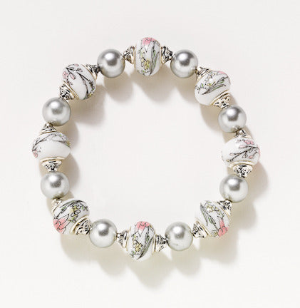 Gray Pearl & Pink Porcelain Stretch Bracelet