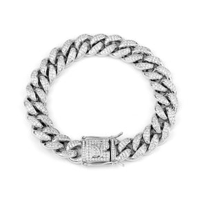 Darkai - Bracciale Cuban Iced Out Bianco 12mm