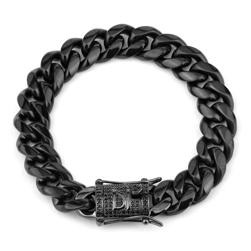 Darkai - Bracciale Cuban Nero Deep 12mm