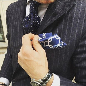 Navy blue crossed pocket square