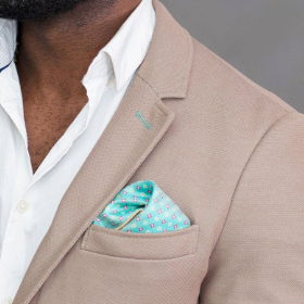 Electric green (Reversible) dotted pocket square