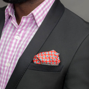 Dotted paisley pocket square
