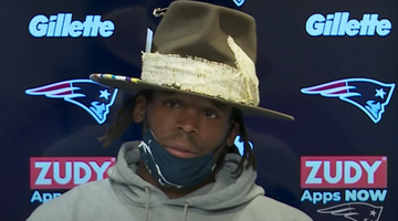 Cam Newton Wears Custom Fedora Hat at Patriots Press Conference