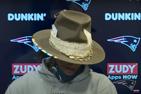 Cam Newton Hat Patriots Press Conference
