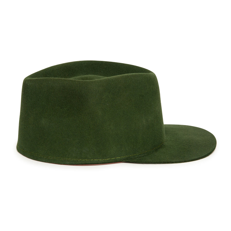 Custom Olive Cap in luxury wool by Celebrity Hatmaker Alberto Hernandez of Meshika Hats