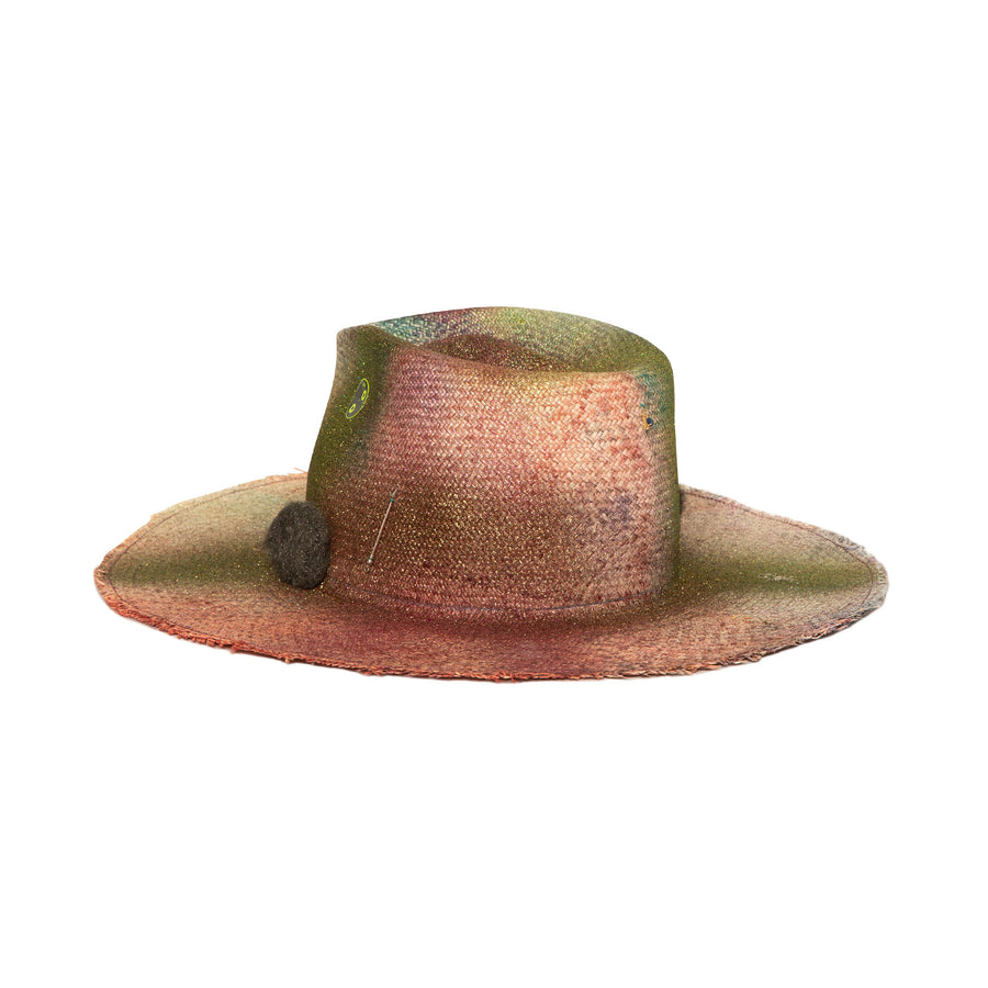 Custom Colorful Straw Fedora by Hatmaker Alberto Hernandez of Meshika Hats Made in Los Angeles California