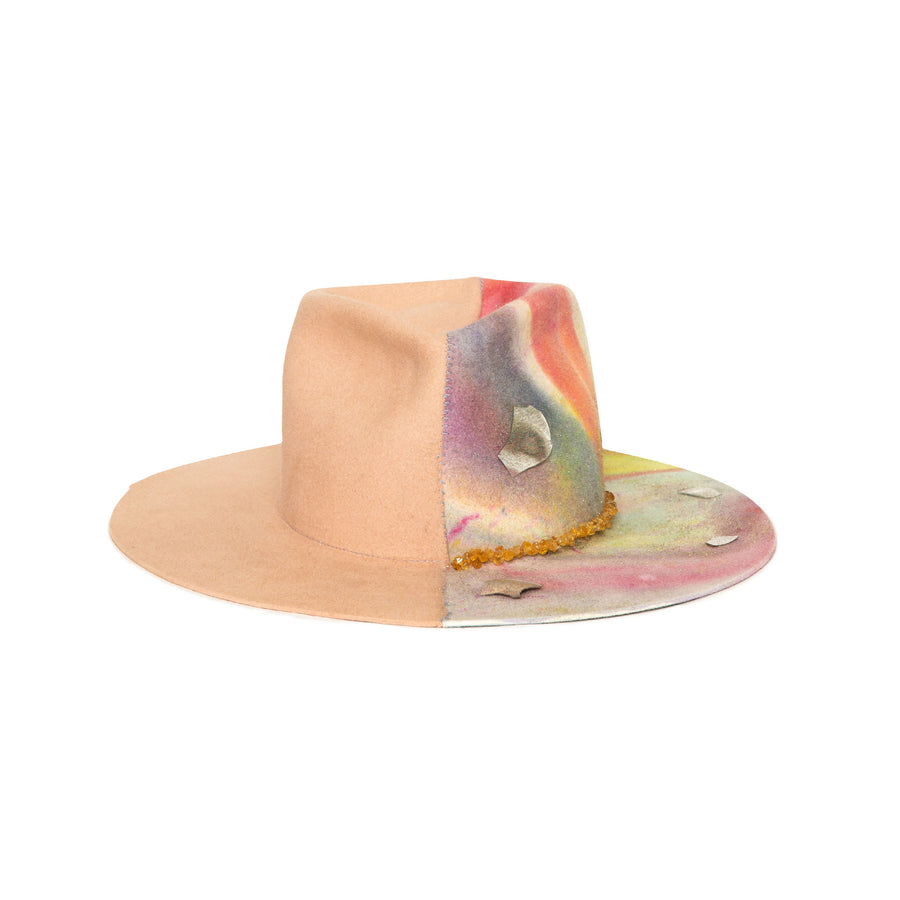 Luxury Handmade Limited Edition Tie Dye Fedora made with rabbit felt by Hatmaker Alberto Hernandez of Meshika Hats
