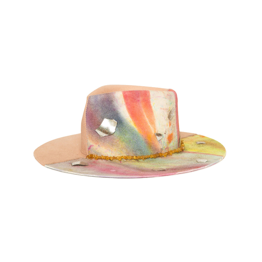 Luxury  Handmade Tie Dye Fedora made with rabbit felt by Hatmaker Alberto Hernandez of Meshika Hats