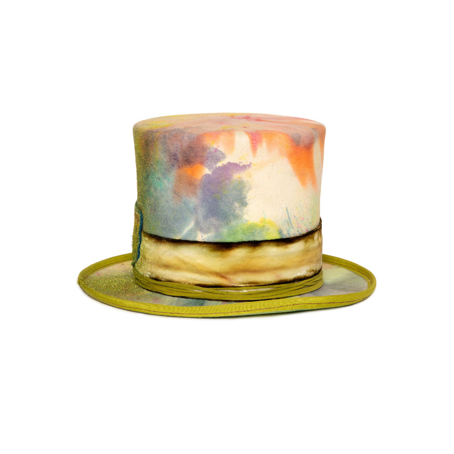 Custom Tie Dye Top Hat  by Hatmaker Alberto Hernandez of Meshika Hats Made in Los Angeles California