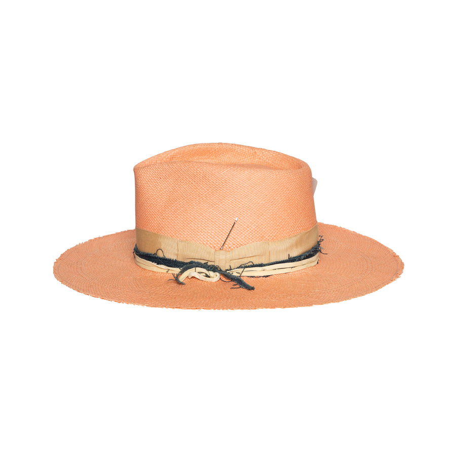 Fedora in luxury pink straw by Hatmaker Alberto Hernandez of Meshika Hats