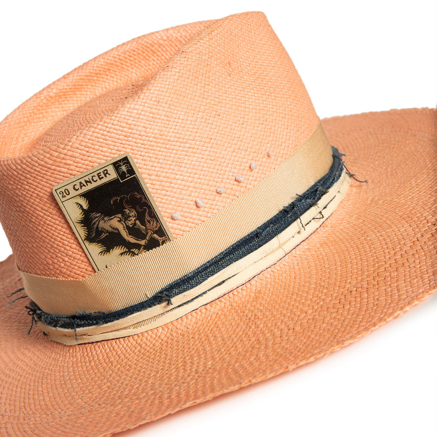 Luxury Handmade Pink Fedora made with straw by Hatmaker Alberto Hernandez of Meshika Hats