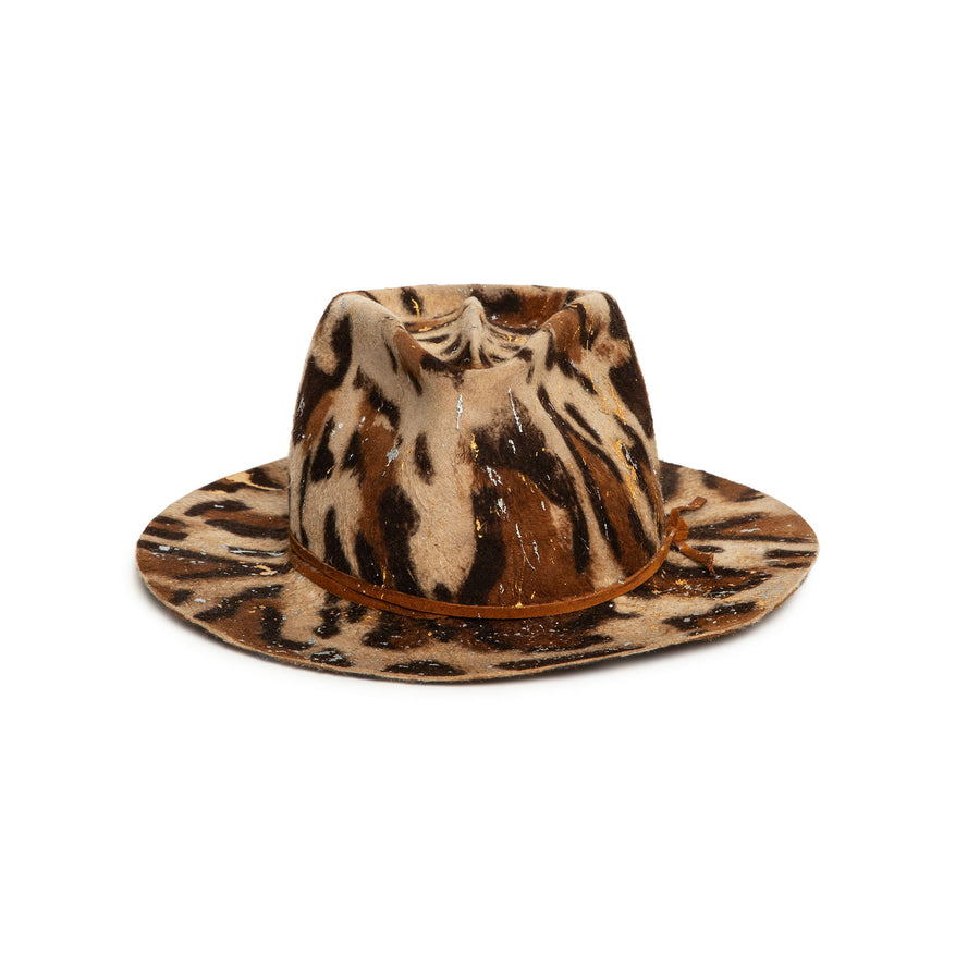 Leopard Print Fedora in luxury rabbit felt by Hatmaker Alberto Hernandez of Meshika Hats