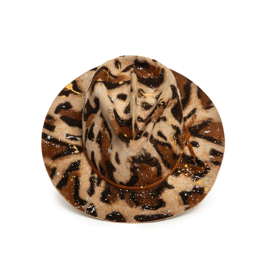 Luxury Handmade Leopard Print Fedora made with rabbit felt by Hatmaker Alberto Hernandez of Meshika Hats