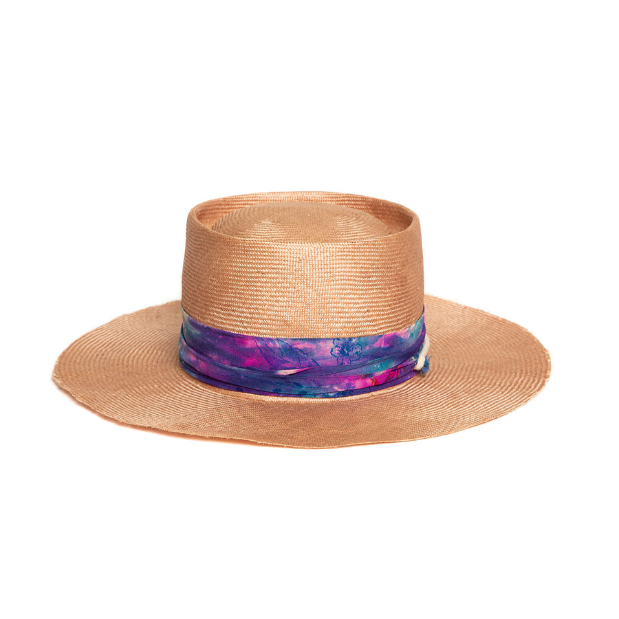 Light Pink Luxury Handmade Fedora made with straw by Hatmaker Alberto Hernandez of Meshika Hats
