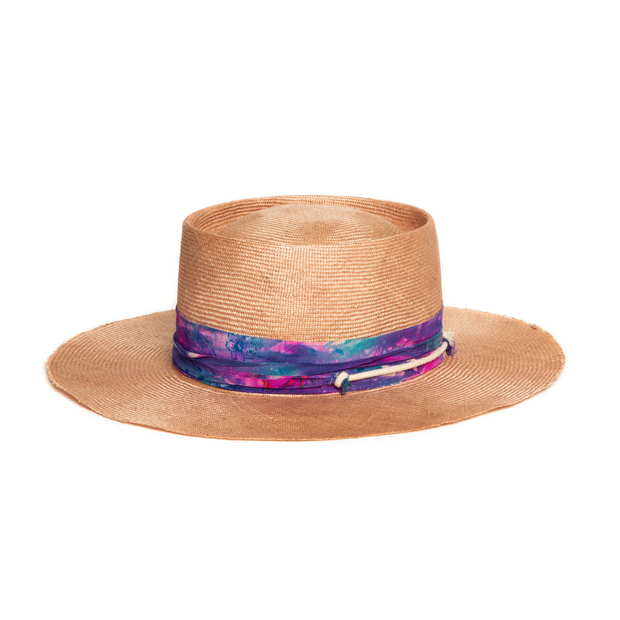 Light Pink Fedora in luxury straw by Hatmaker Alberto Hernandez of Meshika Hats
