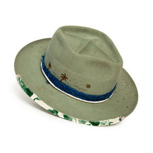 Luxury Handmade Sage Fedora made with beaver felt by Hatmaker Alberto Hernandez of Meshika Hats