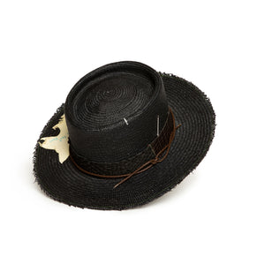 Custom Handmade Black Straw Fedora  by Hatmaker Alberto Hernandez of Meshika Hats