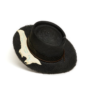 Luxury Handmade Black Fedora made with straw by Celebrity Hatmaker Alberto Hernandez of Meshika Hats
