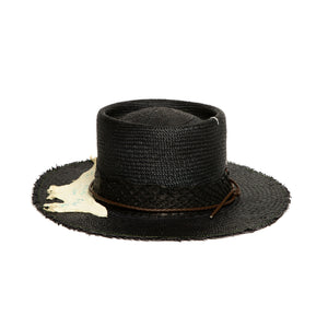 Custom Black Fedora in luxury straw by Hatmaker Alberto Hernandez of Meshika Hats