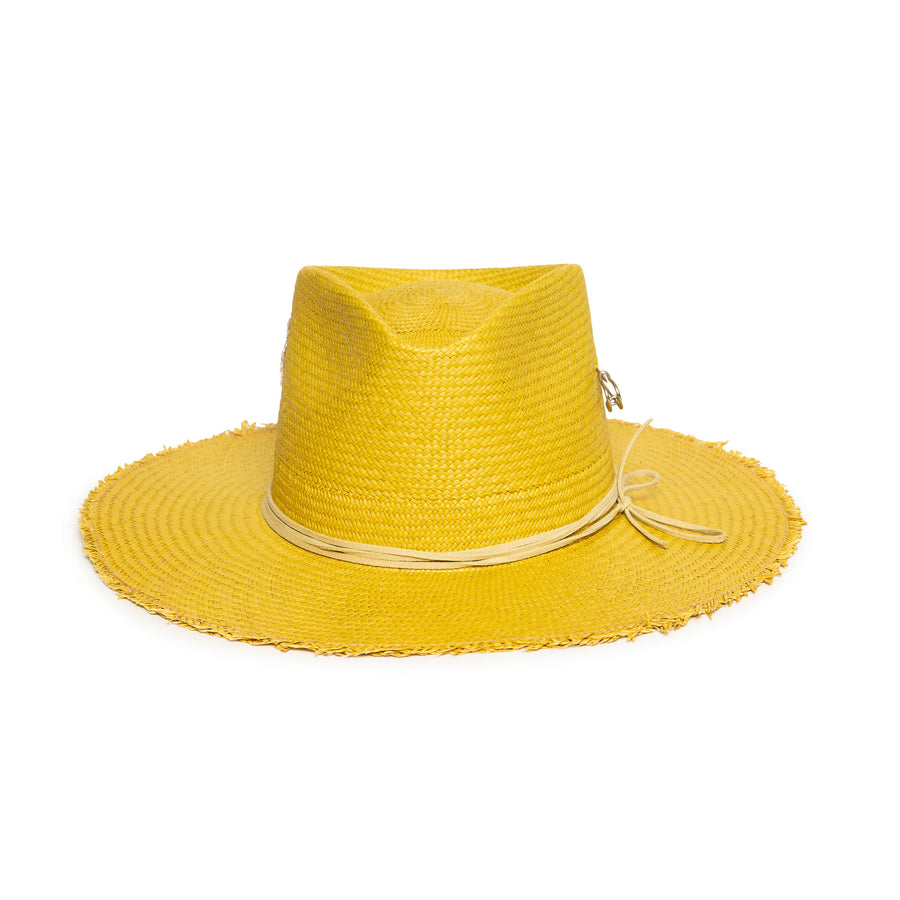Custom Handmade Yellow Straw Fedora by Hatmaker Alberto Hernandez of Meshika Hats