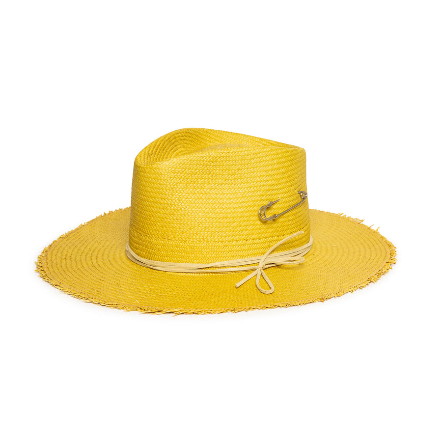 Yellow Fedora in luxury Straw by Hatmaker Alberto Hernandez of Meshika Hats