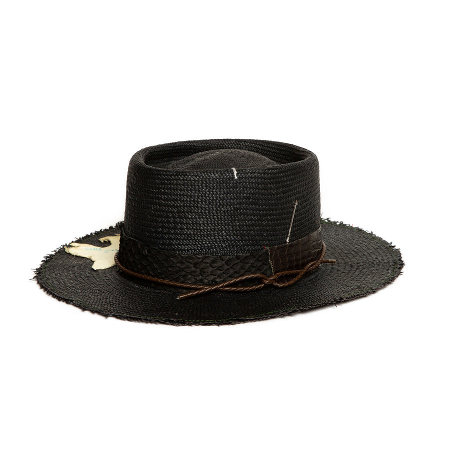 Custom Black Straw Fedora by Hatmaker Alberto Hernandez of Meshika Hats Made in Los Angeles California