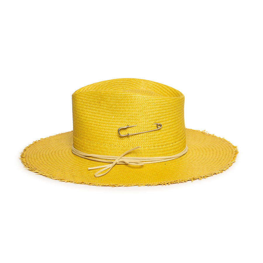 Custom Yellow Straw Fedora by Hatmaker Alberto Hernandez of Meshika Hats Made in Los Angeles California