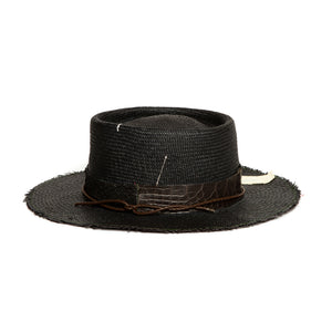 Custom Black Fedora by Hatmaker Alberto Hernandez of Meshika Hats Located in Los Angeles California