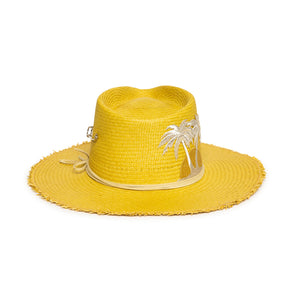 Luxury Custom Yellow Fedora by Hatmaker Alberto Hernandez of Meshika Hats Located in Los Angeles California