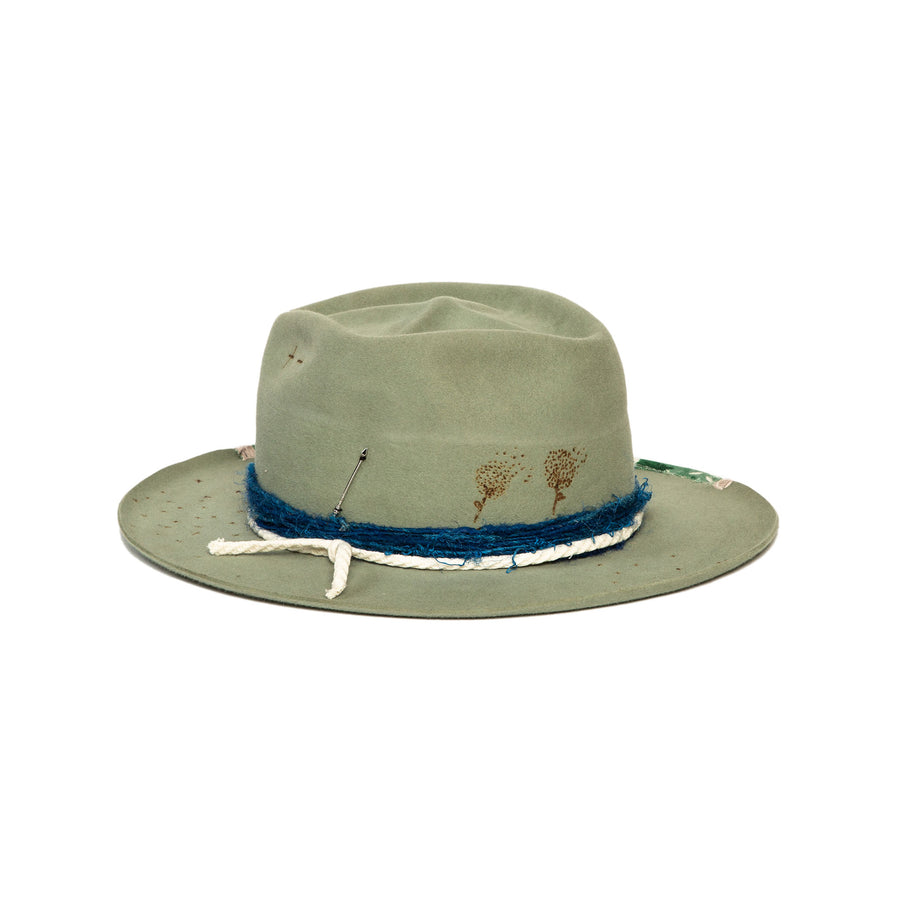 Custom Sage Fedora by Hatmaker Alberto Hernandez of Meshika Hats Made in Los Angeles California