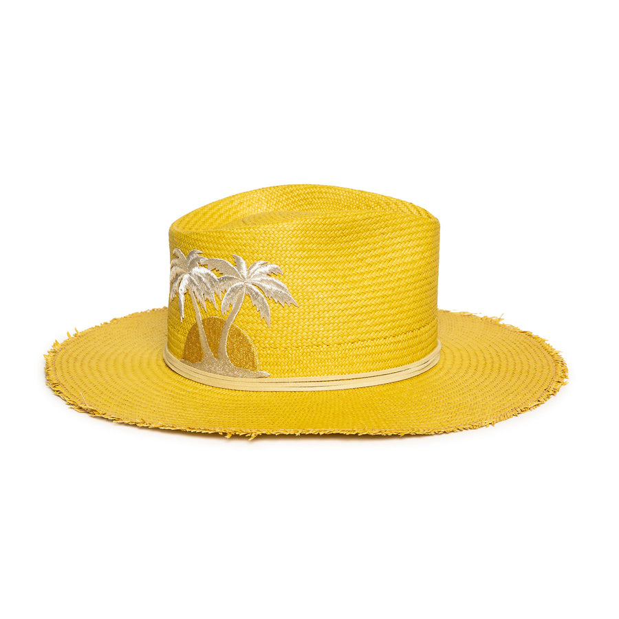 Custom Yellow Fedora in luxury Straw by Celebrity Hatmaker Alberto Hernandez of Meshika Hats