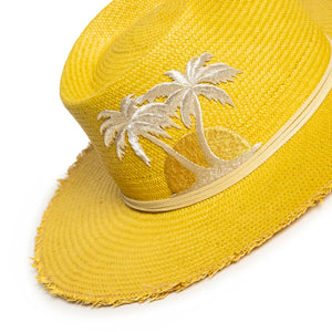 Luxury Handmade Yellow Fedora made with straw by Celebrity Hatmaker Alberto Hernandez of Meshika Hats Located in Los Angeles California