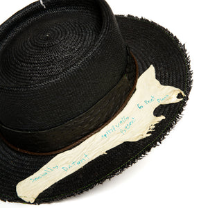 Black Fedora in luxury straw by Celebrity Hatmaker Alberto Hernandez of Meshika Hats