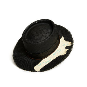 Luxury Handmade Black Fedora made with straw by Hatmaker Alberto Hernandez of Meshika Hats