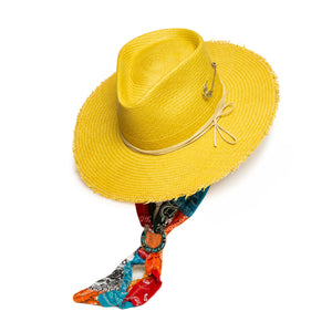 Luxury Handmade Yellow Fedora made with Straw  by Hatmaker Alberto Hernandez of Meshika Hats